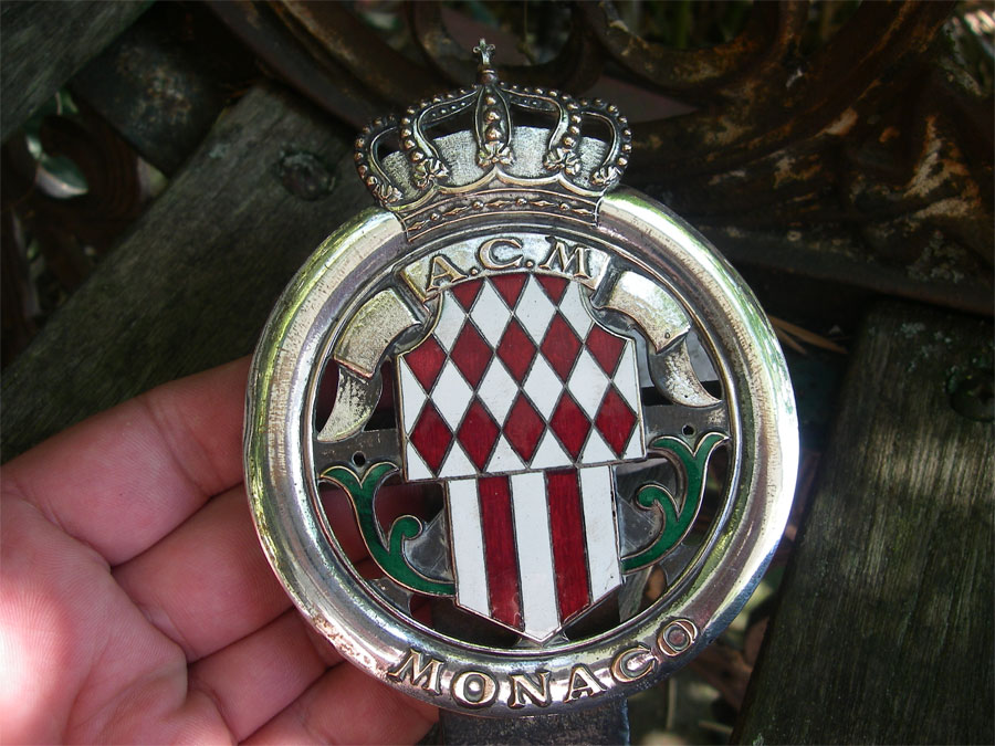 acm automobile club de monaco anni 1920er placca car badge radiatore auto ebay. Black Bedroom Furniture Sets. Home Design Ideas