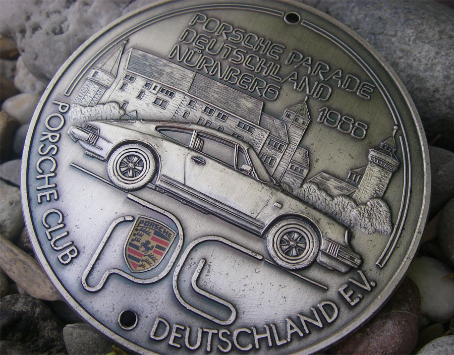 porsche 911 porsche parade n rnberg badge 1988 car engine grille club fuchs ebay. Black Bedroom Furniture Sets. Home Design Ideas